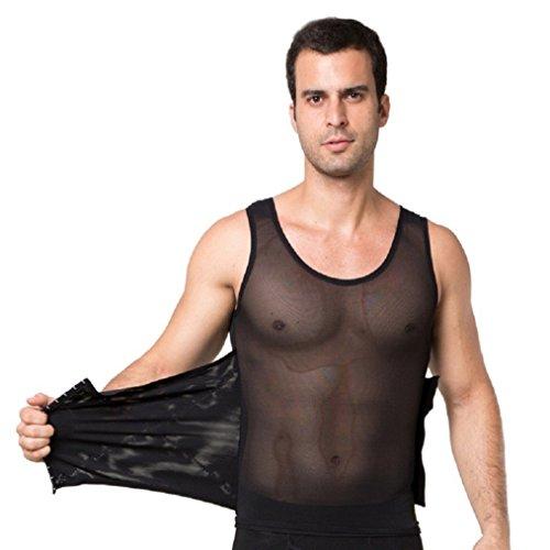 Valentina Mens Body Shaper Slimming Shirt Tummy Waist Compression Top Slim Muscle Tank Shapewear Hot Comfortable Bodyshaper Black