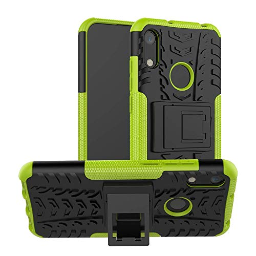 Wuzixi Cover per Huawei Honor Play. [Heavy Duty] [Hybrid 2 in 1][Staffa] Kickstand Tire Texture Case Protective Cover Custodia per Huawei Honor Play.Verde