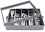 Flatware Storage Case - 5 Compartment Tableware Cutlery Container Chest with Removable PVC Lid and Easy to Carry Handles,Large Capacity Utensils,Silverware,Flatware Box(Light Grey)