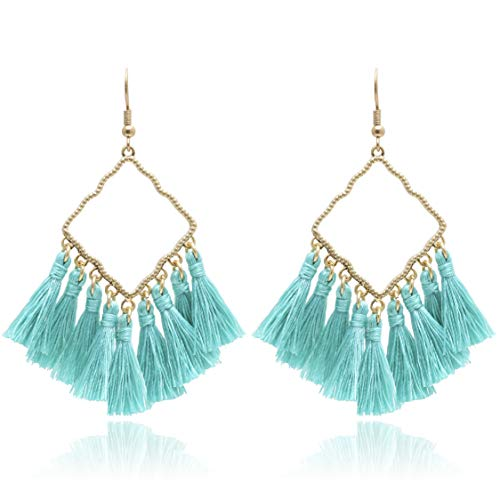 BONALUNA Womens Vintage Boho Square Metal with Tassels Dangle Drop Earrings Turquoise