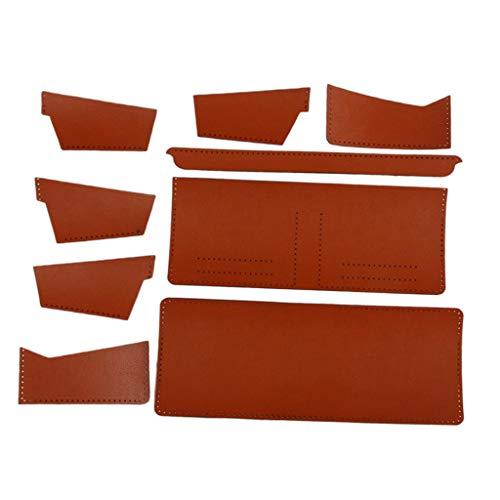 sharprepublic Lederverarbeitung DIY Geldbörse Portemonnaie Muster und Material Kit mit vorgestanztem Leder - Dunkelorange