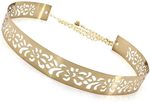 SATYAM KRAFT Women's Metal 3.5 cm Wide Hollow Design Plate Adjustable Belt (Golden )