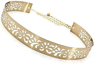 SATYAM KRAFT Women's Metal 3.5 cm Wide Hollow Design Plate Adjustable Ladies Belt (Golden)