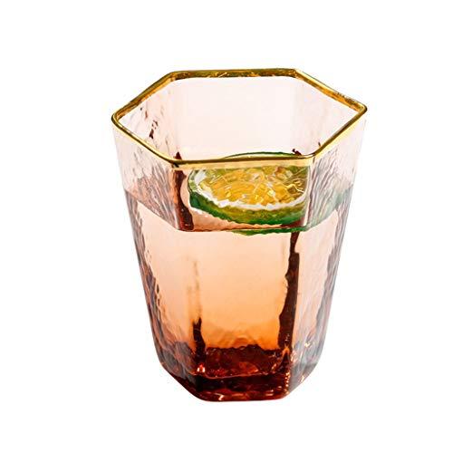 WxberG Juego de 2 vasos geométricos transparentes para beber, vasos de licor, vaso único de 11 onzas para zumo, whisky, whisky, bourbon (color: 270 ml)