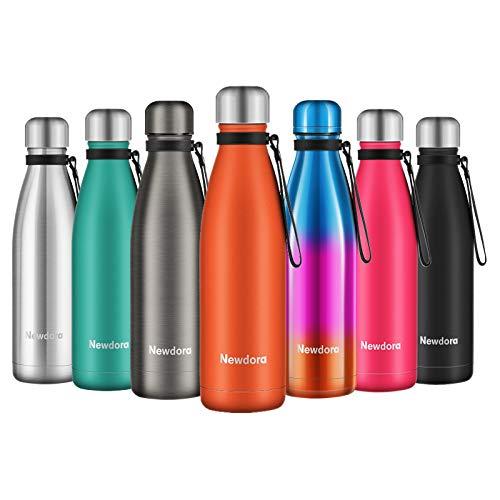 Newdora Botella de Agua Acero Inoxidable 500ml, Aislamiento de Vacío de Doble Pared, Botellas de Frío/Caliente, con 1 un Cepillo de Limpieza, para Niños, Deporte, Oficina, Gimnasio, Naranja