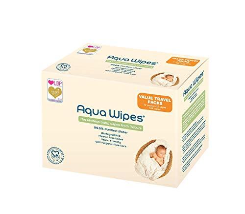 Toallitas húmedas Aqua Wipes, (12 x 12 toallitas de viaje (144 toallitas)), AQW12F, Veganas, Biodegradables, sin plástico, 99.6% de Agua Purificada, NHS APROBADO, Toallitas para bebé Aqua Wipes