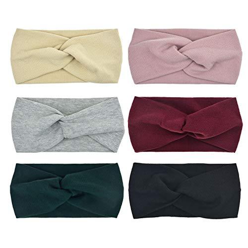 DRESHOW 6 Pack Women Headband Boho Floal Style Criss Cross Head Wrap Hair Band