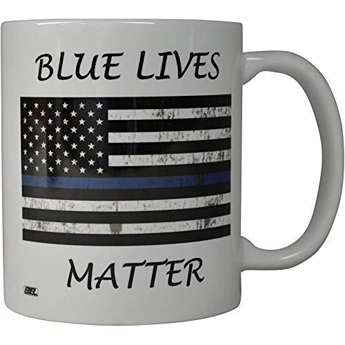 Koffie-haver Blue Lives gelegenheid vlag dunne blauwe lijn nieuw mok geweldig cadeau idee voor politieagenten vervolging PD (Blue Lives)