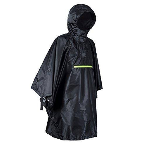 MagiDeal Poncho de Pluie Vestes Anti-Pluie Avec Bande Réfléchissante Imperméable en 230T Titafo - Noir, comme décrit