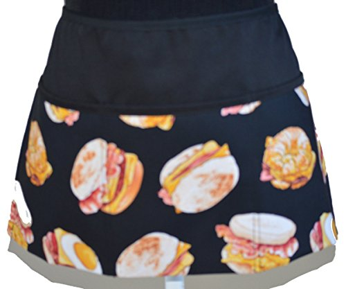 Wiaters Aprons Half Aprons for Men Bakers Servers Waitress 3 Pockets Novelty Breakfast Print Aprons Egg mcmuffins Bacon and Eggs Waist Aprons