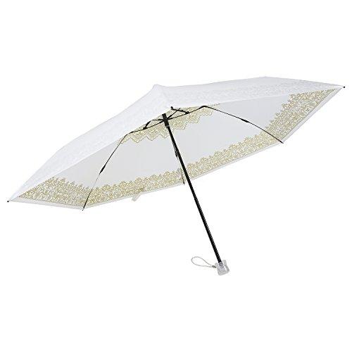UVION ユヴィオン 晴雨兼用 軽量 折り畳み傘 日傘 プレミアムホワイト 55cm [レース ゴールド 金 6本骨] 55ミニカーボンwith スワロフスキー 雨傘 UVケア 遮熱