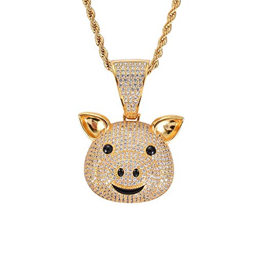 Hip Hop Cartoon Little Pig Colgante Collar AAA Cubic Zirconia Collar Hombres Mujeres Regalos