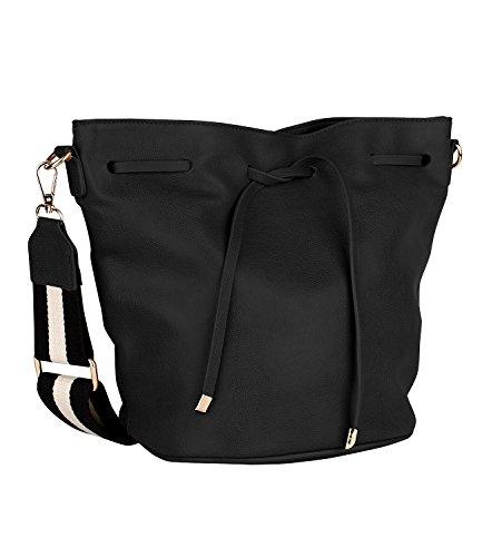 SIX Kleine Schwarze Damen Handtasche, Beutel, Umhängetasche, Schultertasche mit langem Gurt in schwarz Weiss gestreift (463-914)