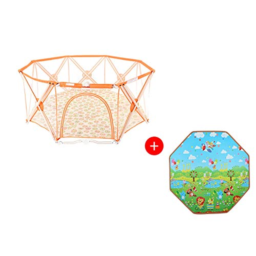 Great Price! Playards Baby Orange Foldable Children's Play Fence with Lock Door, Baby Safety Shatter...