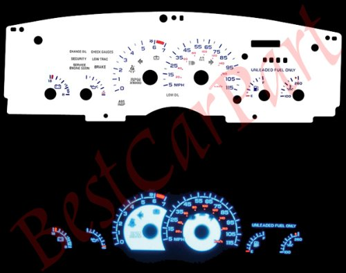 White Reverse Glow Gauges For 1993-1996 Chevy Camaro V6 115mph