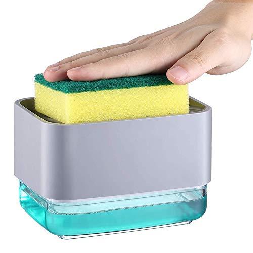N/U Dispensador de jabón líquido manual de cocina dos en uno para lavavajillas dispensador de detergente dispensador de jabón de plato dispensador de jabón de plástico, plata