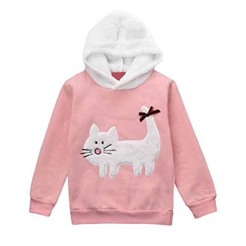 Kehen Child Kid Cat Pattern Rabbit Ears Hoodies Long Sleeve Pullover Tops for Toddler Girl (Pink, 3T)