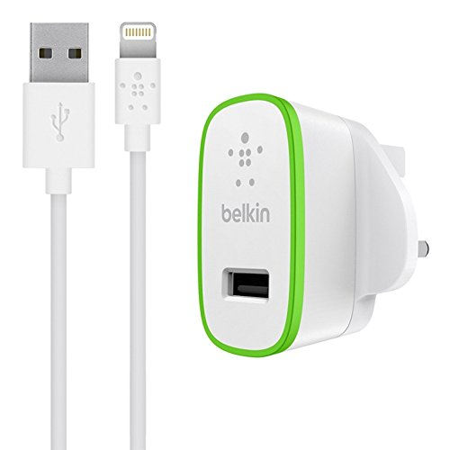 Belkin Fast 2.4 A USB Mains Charger with 1.2 m Lightning Charge and Sync Cable for iPhone 11, 11 Pro/Pro Max, XS/XS Max, XR/X, SE, 8/8 Plus and iPad (MFI Certified) - White