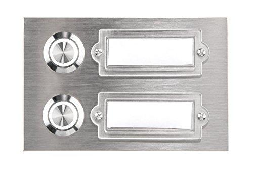HUBER LED Klingeltaster 12771, 2-fach unterputz, rechteckig, Edelstahl, LED Lichtfarbe kalt weiß