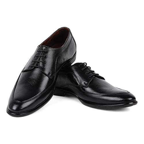 LOUIS STITCH Men's Formal Classic Style Derby Shoes || Obsidian Black Handcrafted Leather Shoes for Men || Super Silent Soft and Strong
