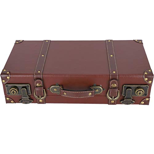 Fockety Storage Suitcase, Retro Storage Box, Durable 44.5CM × 23CM × 11.7CM Large Capacity European Style Brown for Storage Ornament