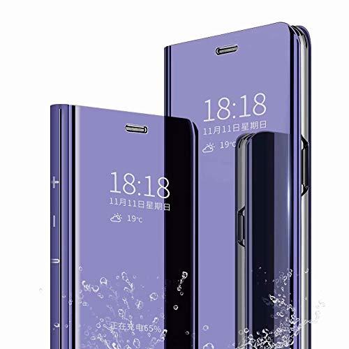 TenDll Cover per Samsung Galaxy Z Fold2 5G, Flip Custodia Cover con Funzione Kickstand Ultra-Sottile Specchio Traslucido Cover Smart Cover, Flip Cover PU Silicone Custodie -Porpora