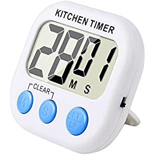 Magnetic Digital Kitchen Timer with Loud Alarm and Large LCD Display (White-Blue)