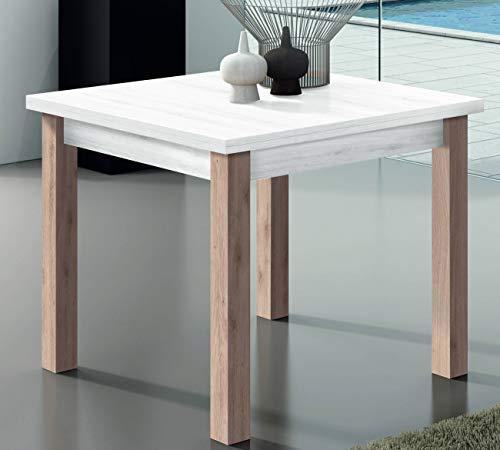 KITKAY Mesa de Comedor Extensible Tipo Libro de 90x90 cm. Blanco Polar/Roble Natural