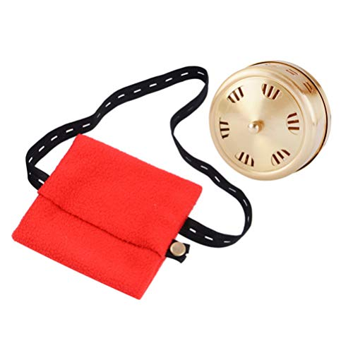 Healifty Moxa Stick Box Moxibustion Box Copper Smokeless Moxa Roll Container & Red Bag for Home