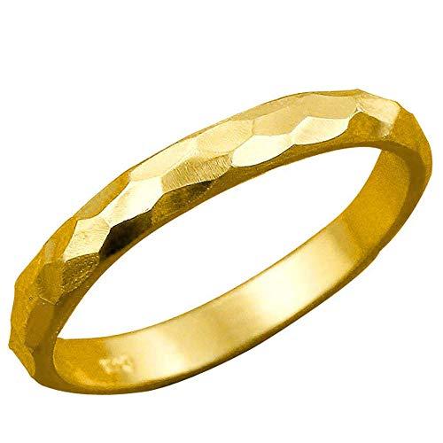 [アトラス]Atrus リング メンズ 24金 純金 ストレート 甲丸 地金 槌打ち ロック仕上げ 指輪 13号