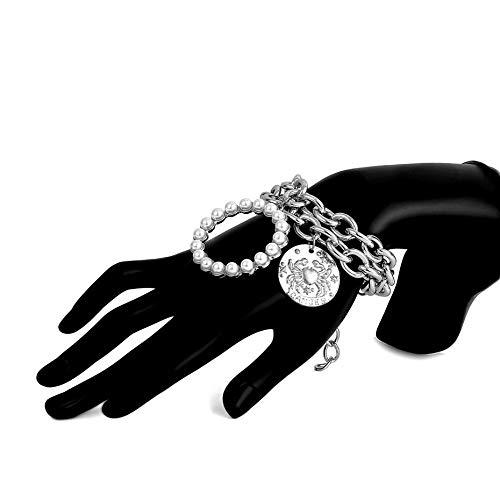 NA Armband SchmuckBöhmen Runde Imitation Perlen Anhänger Armband Armreif Frauen Punk Geschnitzte Münze Krabben Dicke Kette Armbänder Neujahr Geschenk SIL