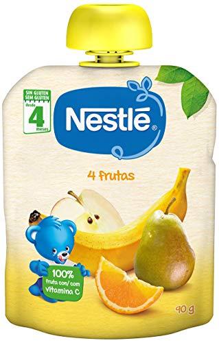 Nestle Bolsita de pure de frutas, variedad 4 Frutas - Para bebes a partir de 4 meses - Paquete de 16 bolsitasx90g