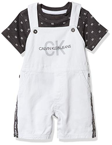 Calvin Klein Baby Boys' 2 Pieces Shortall, Grey/White, 12M
