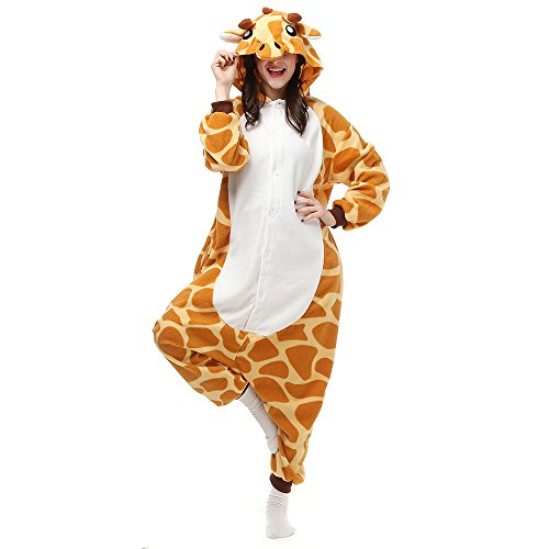 BGOKTA Disfraces de Cosplay para Adultos Pijamas de Animales One Piece Jirafa, L