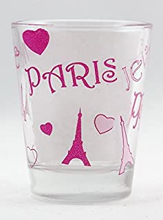 Paris Eiffel Tower & Hearts Collage Shot Glass