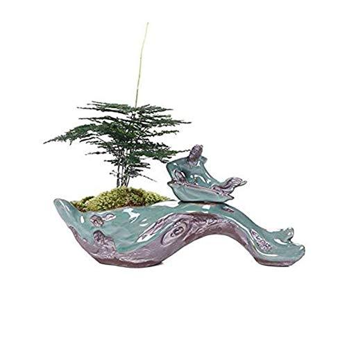 Pot De Fleurs Moss Style Chinois Créatif Charnue Sable Pourpre Céramique Petits Ornements Bonsaïs Wenzhu Pot De Fleurs,1