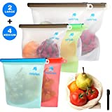 Reusable Silicone Food Bags - Leak-proof Airtight Seal Food Preservation Bag Containers for Liquid, Meat, Sandwich, Fruit -Bonus Produce Bag and Marker - 6 Pack, 2-Large, 4-Medium Acquiring Needs