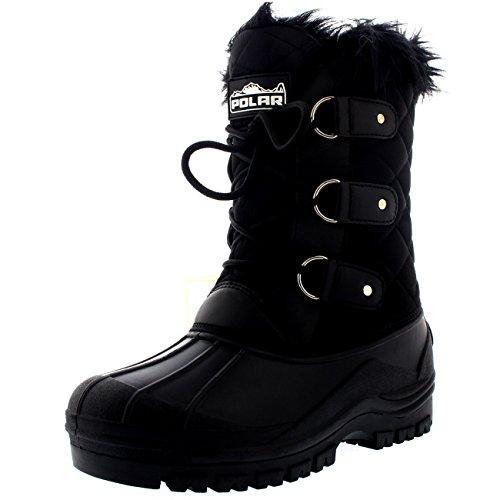 POLAR Womens Mid Calf Mountain Walking Tactical Waterproof Boots - Black - US7/EU38 - YC0363