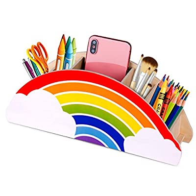 Gamenote Wooden Pen Holder & Pencil Holders - Rainbow Supply Caddy Phone Holder Desk Organizer for Office Supplies Makeup Brush Classroom Organization for Women & Kids