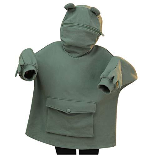 Disfraz de rana para niños y niñas, divertido con capucha con cremallera, suéter de dibujos animados 3D con bolsillo de ropa 4-13 años