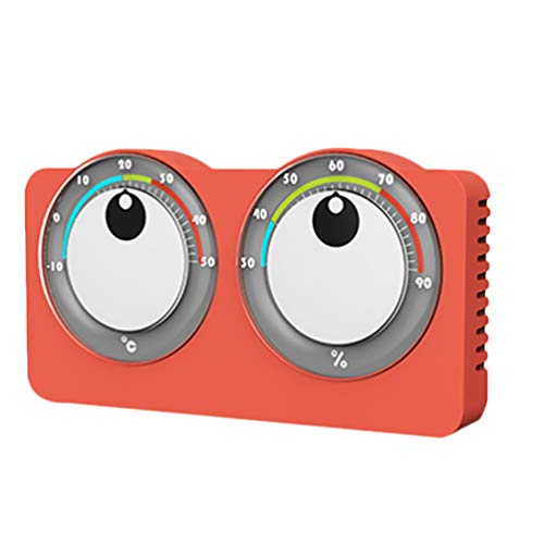 Wakauto Thermomètre Intérieur Hygromètre Grands Yeux Indicateur de Jauge D'humidité Analogique Température Moniteur D'humidité pour La Maison Salle Cuisine Patio Rouge