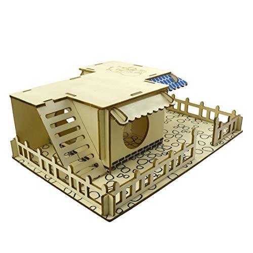 LOPADE Pet Bed Hamster House Hideout Hut Rifugio a Due Piani Scale per Animali Domestici Tunnel Tunnel Parco Giochi per Piccoli Animali Domestici Noble