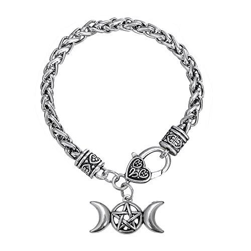 My Shape - Pulsera con cadena de espiga para mujer y hombre, diseño de símbolo lunar de la triple diosa y amuleto con pentagrama, joya de la religión pagana Wicca
