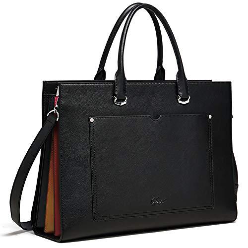 Aktentasche für Frauen Leder Schlank Damen Aktenkoffer Business Arbeitstasche passen 15.6 Zoll Laptop Schwarz