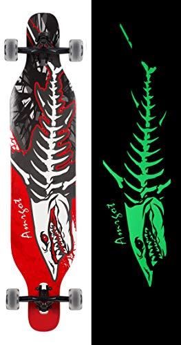 Amrgot Night Light Longborads Skateboards 42 inches Complete Drop Down Through Deck Cruise Professional Longboard(Shark)