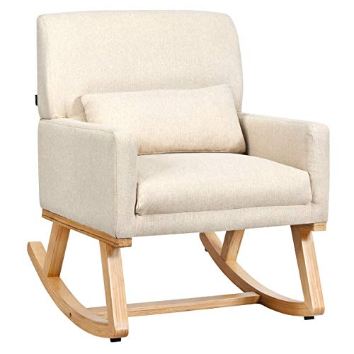 Giantex Upholstered Rocking Chair with Lumbar Support