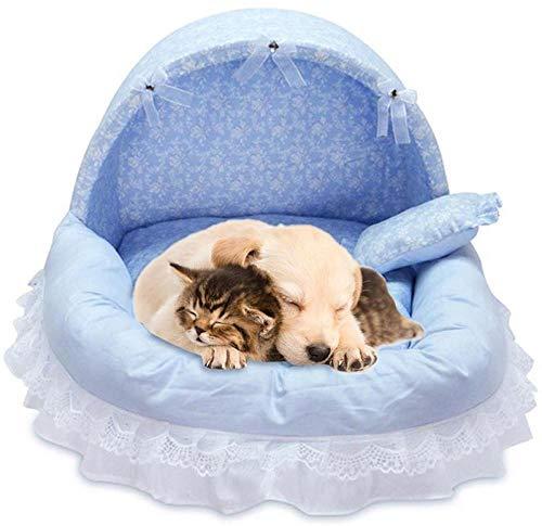 Gulunmun Betten & Sofas Für Katzen Hundebetten Lace Princess Haustier Hundebett Haus Kiste Katze Bett Käfig Korb Puppy House Dream Nest Pet Kennel Sofa Hundenest Weiche Heimtierbedarf @ Blue M