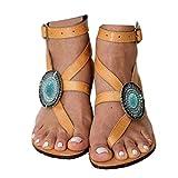 Women's Gladiator Sandals,Cross Tie Flat Rhinestone Sandals,Beach Sandals Size 8.5 Yellow