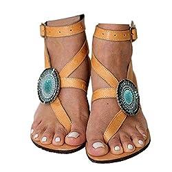 Yellow Gladiator Cross Tie Flat Sandals