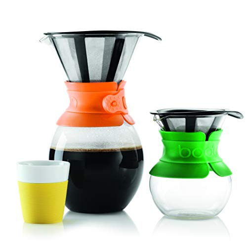 Bodum Pour Over Coffee Maker with Permanent Filter, 1 Liter, 34 Ounce, Black Band